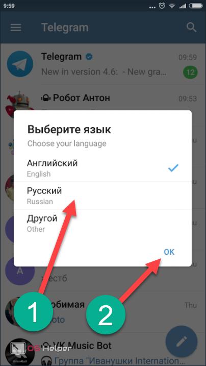 Выбор языка при запуске