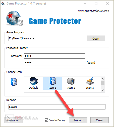 Клик по Protect