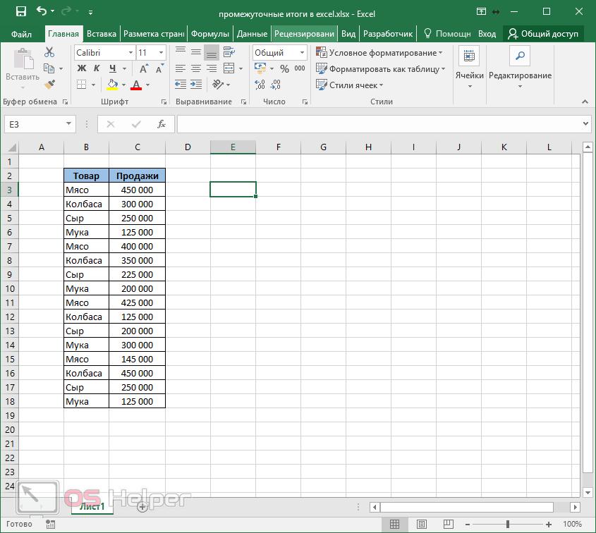 Начальная таблица