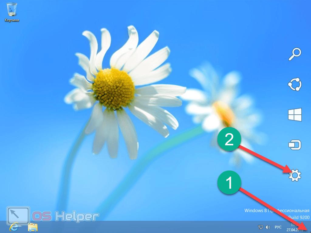 Переход к настройкам Windows 8