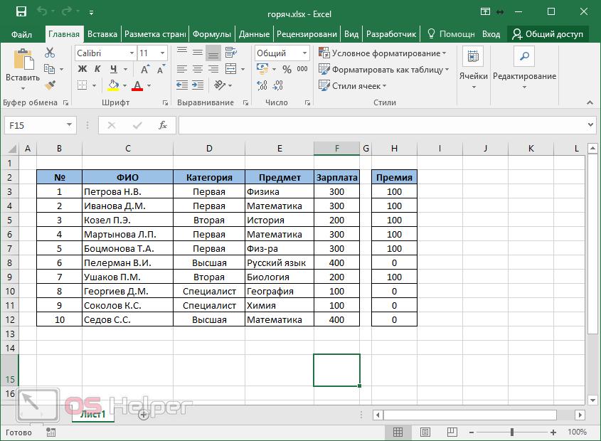Рабочая таблица