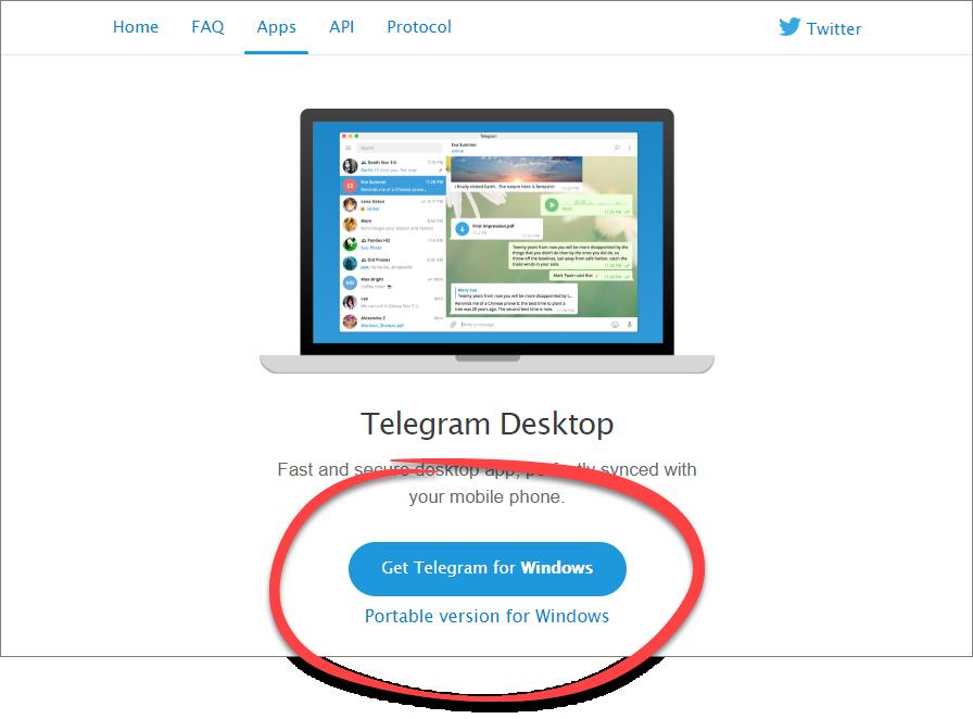 Выбор типа инсталлятора Telegram для ПК