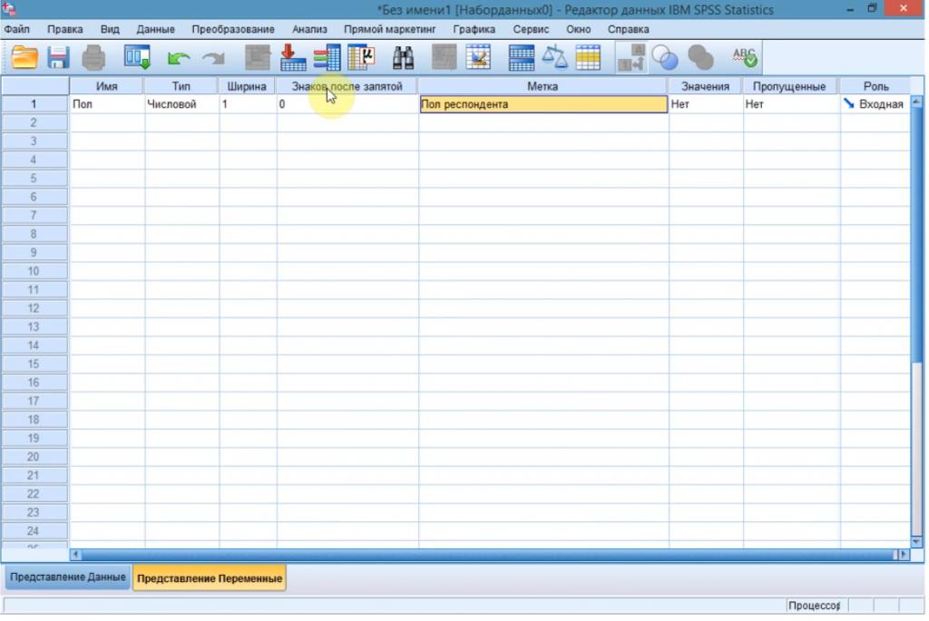 Работа с приложением IBM SPSS Statistics